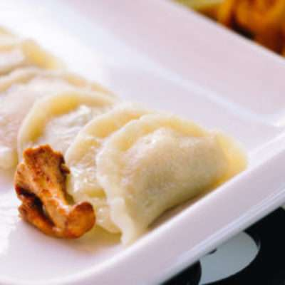 Dumplings with chanterelles