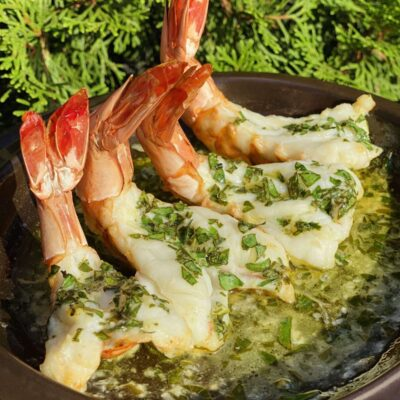 Shrimp tails in butter sauce