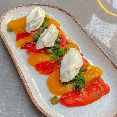 BAKED PEPPERS with soft cheese and pesto sauce