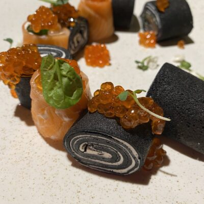 Rolls with salmon and caviar